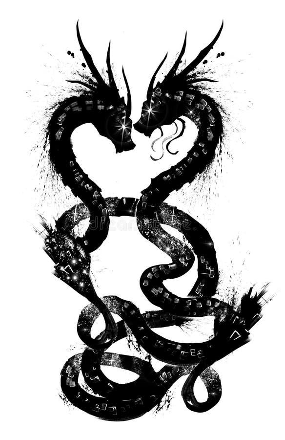 Ζευγάρι των κινεζικών δράκων ελεύθερη απεικόνιση δικαιώματος