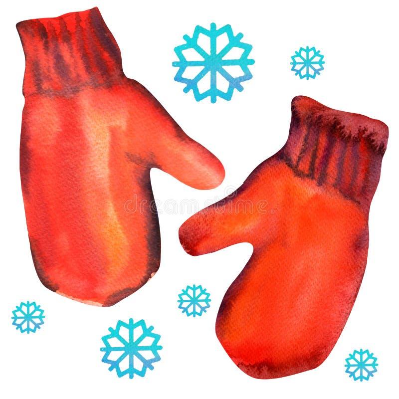 Ζευγάρι των κόκκινων γαντιών με snowflake Απομονώστε επάνω διανυσματική απεικόνιση
