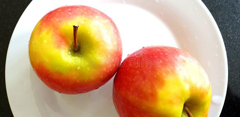 Ζευγάρι των κόκκινων μήλων με τα σταγονίδια νερού σε ένα άσπρο πιάτο στοκ φωτογραφία με δικαίωμα ελεύθερης χρήσης