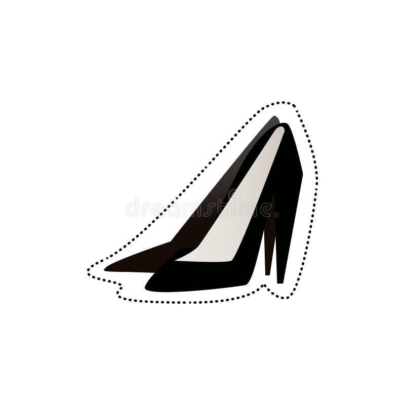 Ζευγάρι των υψηλών μαύρων παπουτσιών τακουνιών - απομονωμένη διανυσματική απεικόνιση στο άσπρο υπόβαθρο διανυσματική απεικόνιση