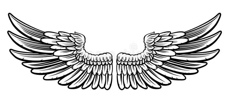 Ζευγάρι των χαραγμένων φτερών απεικόνιση αποθεμάτων