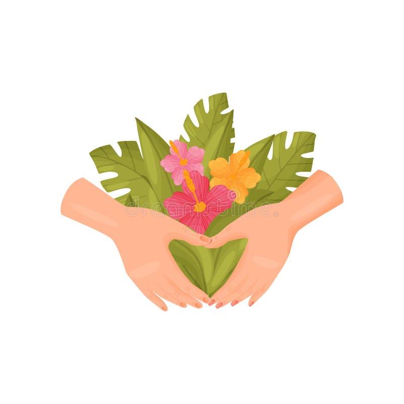 Ζευγάρι των χεριών που κρατά μια ανθοδέσμη των λουλουδιών και των φύλλων E ελεύθερη απεικόνιση δικαιώματος