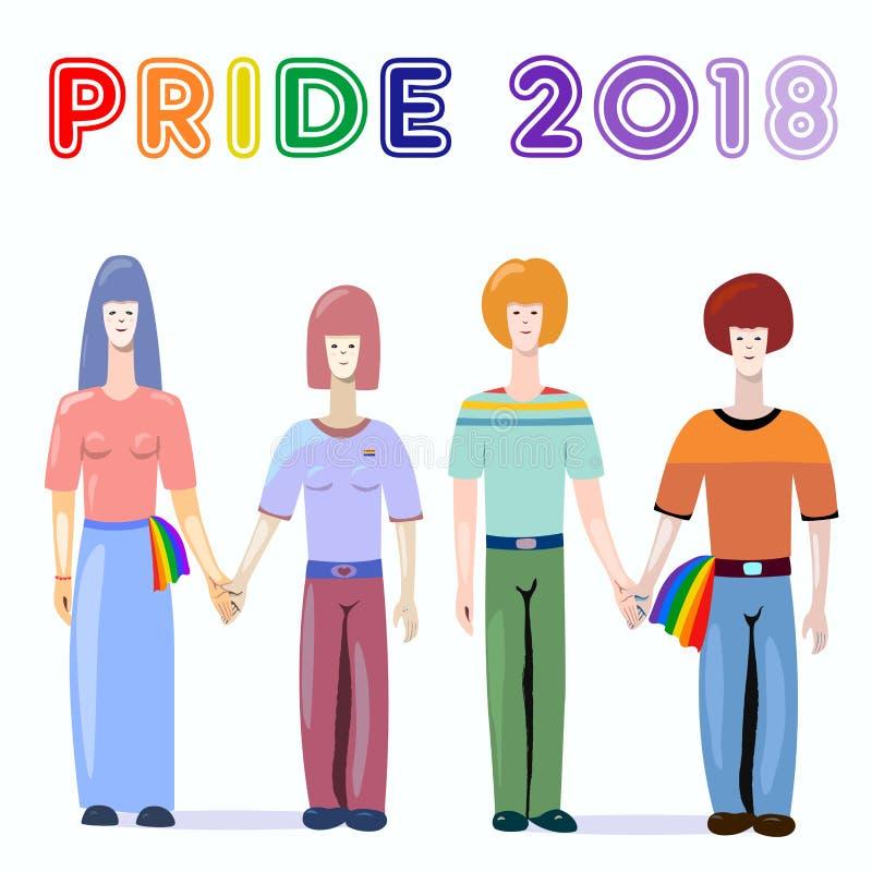 Ζεύγη ομοφυλόφιλων και λεσβιών - ομοφυλοφιλική υπερηφάνεια 2018 διανυσματική απεικόνιση