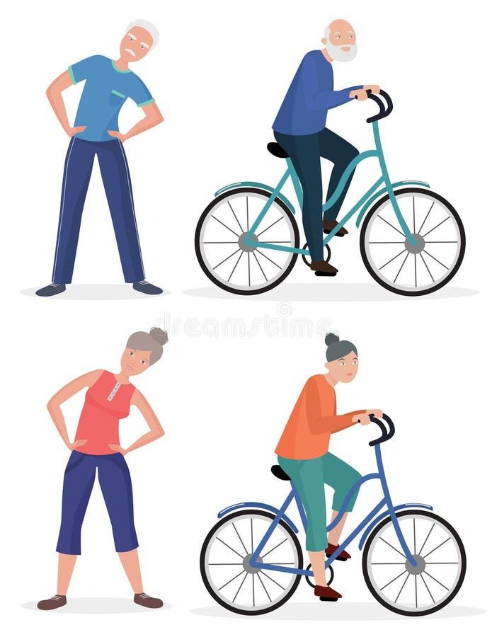 Ζεύγη παππούδων και γιαγιάδων αθλητικού υγιή ηλικιωμένου ανθρώπου ικανότητας καθορισμένα Ανώτερο ποδήλατο πενταλιών ανδρών και γυ διανυσματική απεικόνιση