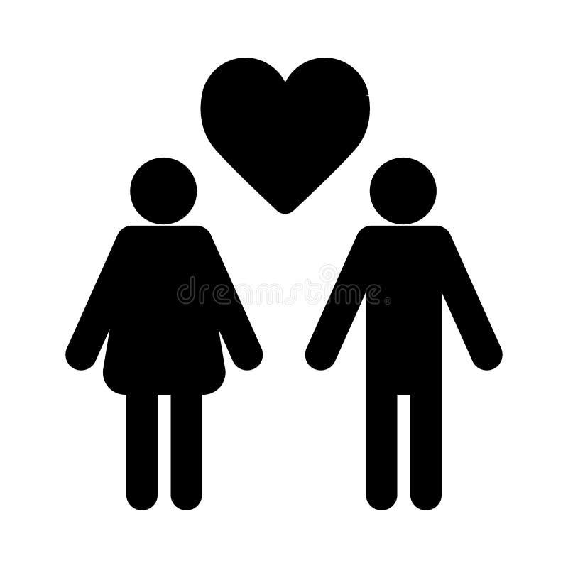 Ζεύγος ερωτευμένο με το διανυσματικό, γεμισμένο επίπεδο σημάδι εικονιδίων καρδιών, στερεό εικονόγραμμα που απομονώνεται στο λευκό διανυσματική απεικόνιση