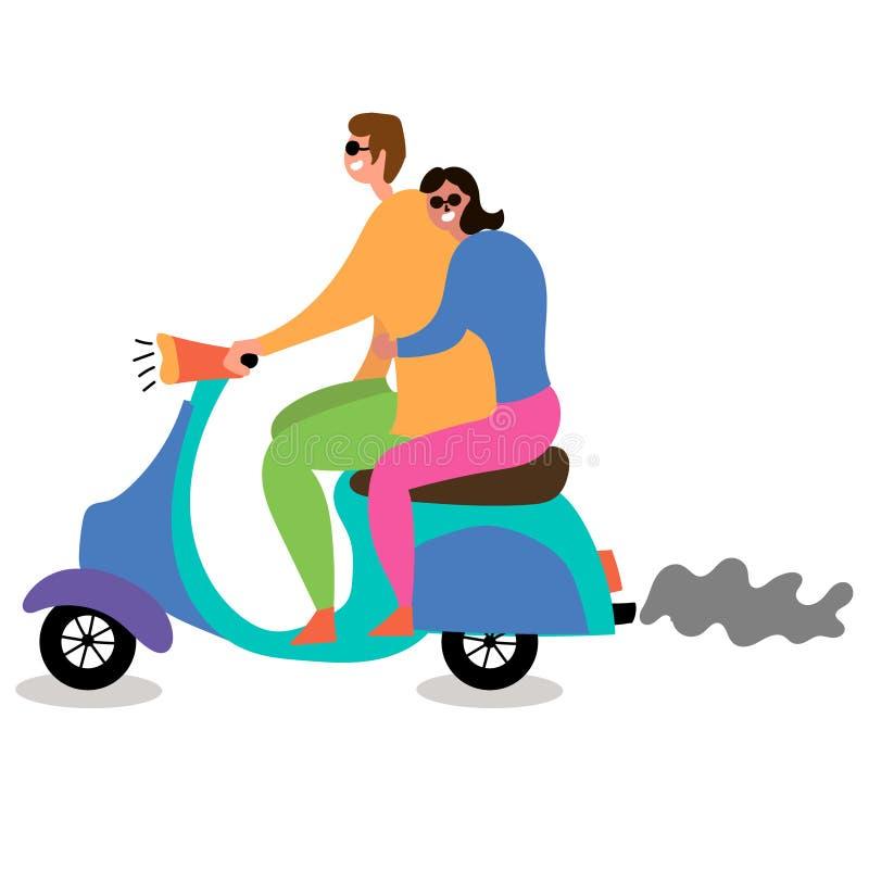 Ζεύγος ερωτευμένο οδηγώντας ένα μοτοποδήλατο ελεύθερη απεικόνιση δικαιώματος