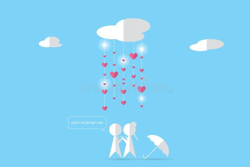 Ζεύγος κάτω από τα σύννεφα με τη βροχή και τις καρδιές, έννοια βαλεντίνων απεικόνιση αποθεμάτων