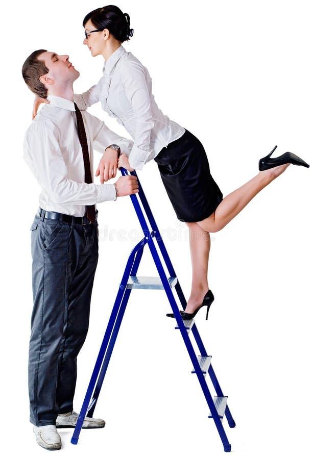Ζεύγος και σκάλα στοκ εικόνα