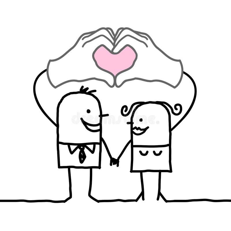 Ζεύγος κινούμενων σχεδίων που κατασκευάζει την καρδιά να υπογράψει με τα χέρια τους ελεύθερη απεικόνιση δικαιώματος