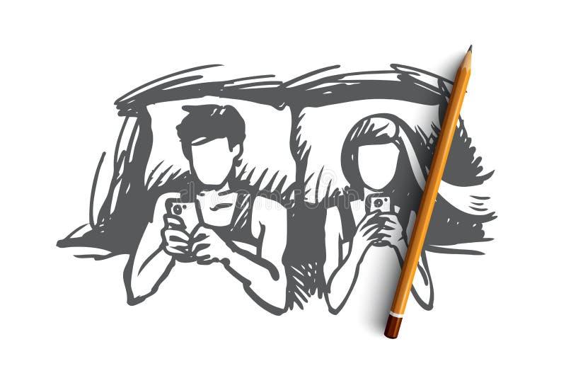 Ζεύγος, κρεβάτι, smartphone, εθισμένη έννοια Συρμένο χέρι απομονωμένο διάνυσμα απεικόνιση αποθεμάτων