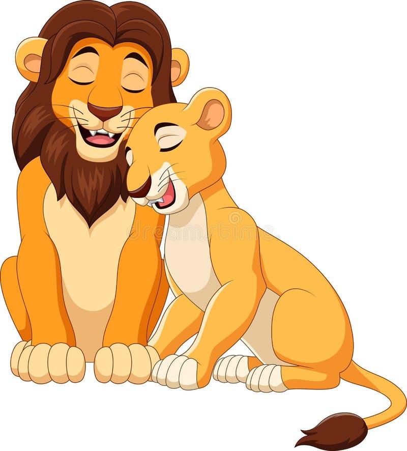 Ζεύγος λιονταριών κινούμενων σχεδίων διανυσματική απεικόνιση