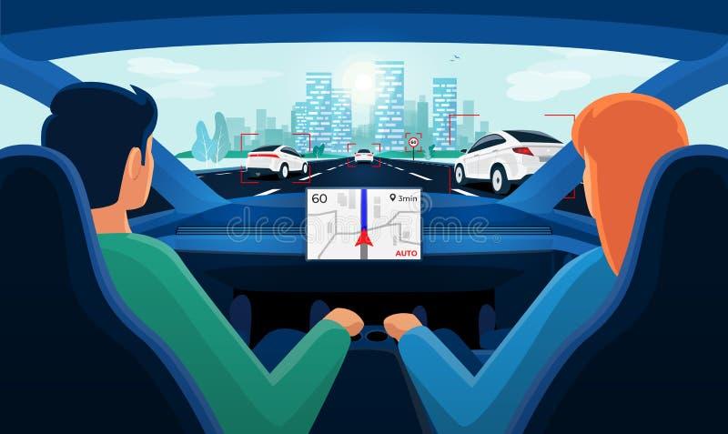 Ζεύγος μέσα στο αυτόνομο εσωτερικό αυτοκινήτων στην κυκλοφοριακή συμφόρηση εθνικών οδών με τον ορίζοντα πόλεων ημέρας ελεύθερη απεικόνιση δικαιώματος