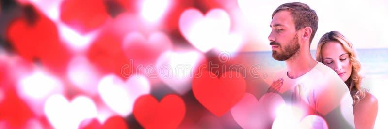 Ζεύγος με τις καρδιές μετάβασης αγάπης βαλεντίνων ` s στοκ φωτογραφίες