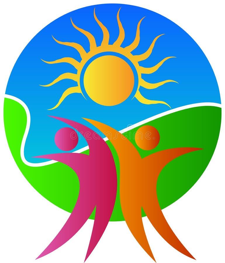 Ζεύγος με τον ήλιο ελεύθερη απεικόνιση δικαιώματος