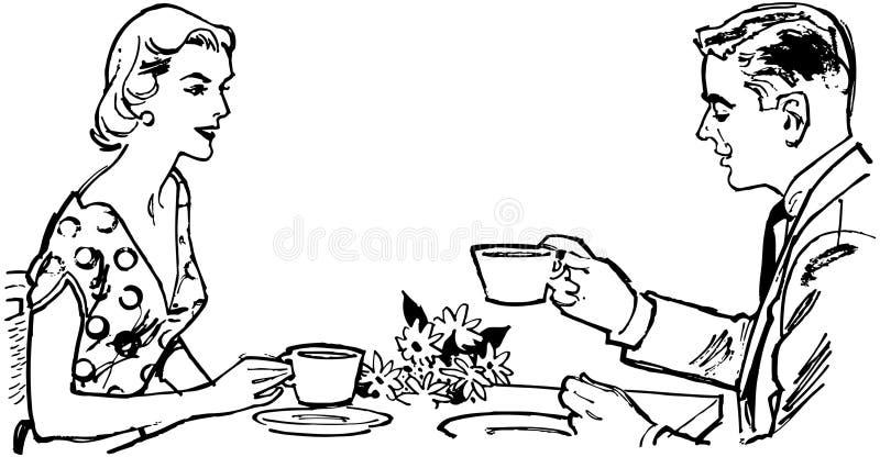 Ζεύγος που έχει το τσάι απεικόνιση αποθεμάτων