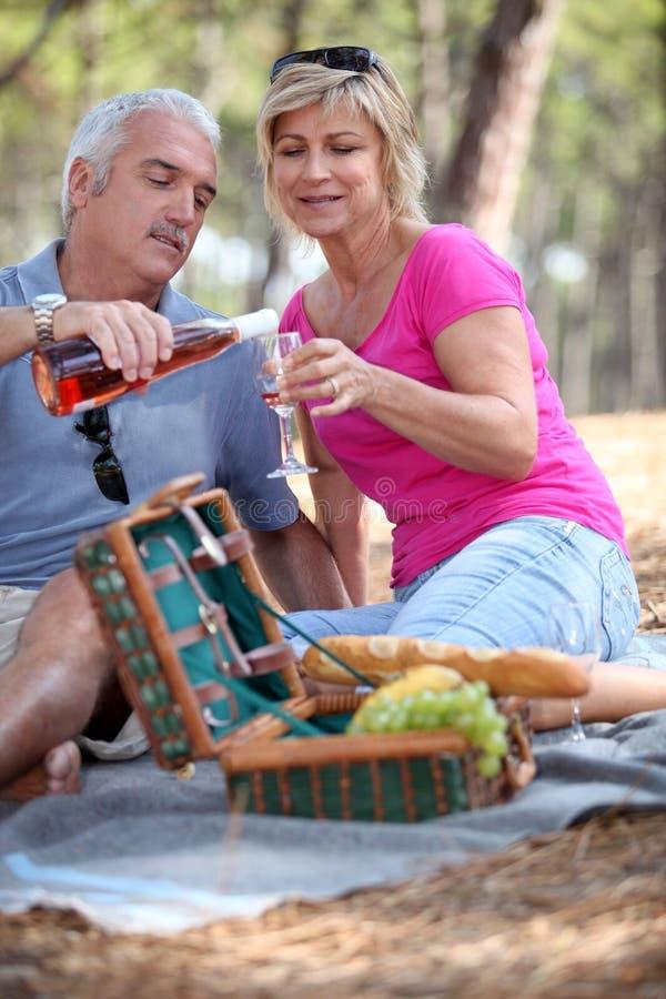 ζεύγος που έχει picnic τον πρεσβύτερο στοκ φωτογραφίες με δικαίωμα ελεύθερης χρήσης