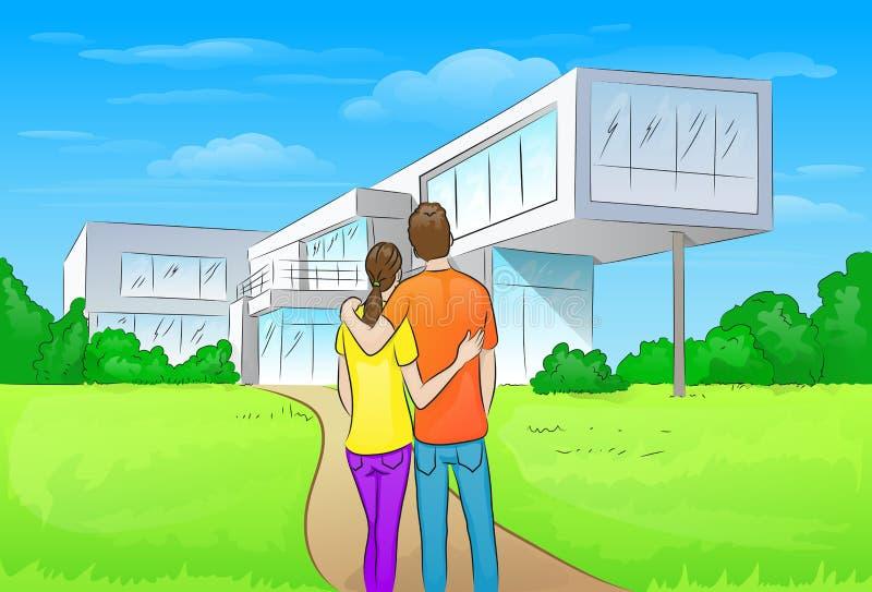 Ζεύγος που αγκαλιάζει μπροστά από το νέο μεγάλο σύγχρονο σπίτι απεικόνιση αποθεμάτων