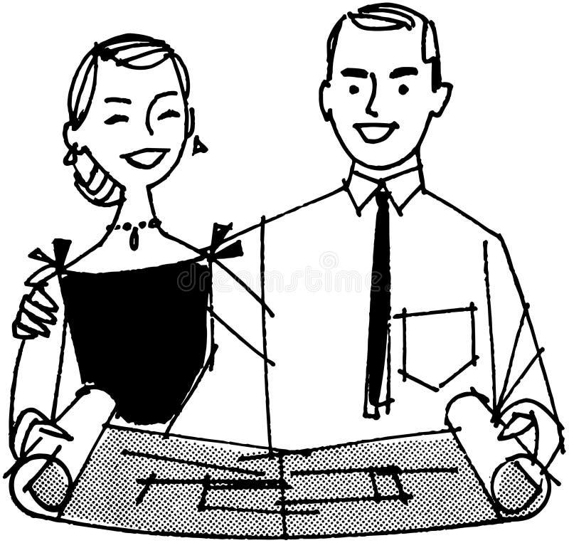 Ζεύγος που εξετάζει το σχεδιάγραμμα διανυσματική απεικόνιση
