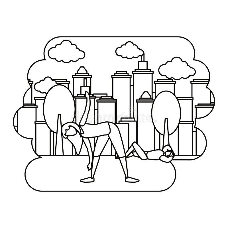 Ζεύγος που κάνει τις ασκήσεις στην πόλη πάρκων διανυσματική απεικόνιση