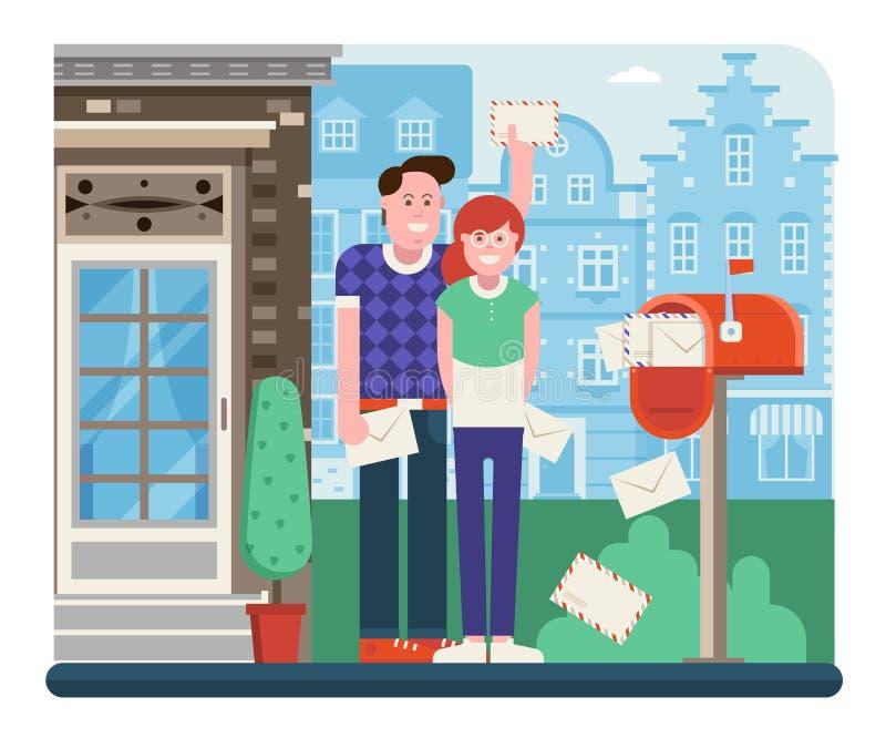 Ζεύγος που λαμβάνει το ταχυδρομείο από το κιβώτιο επιστολών απεικόνιση αποθεμάτων