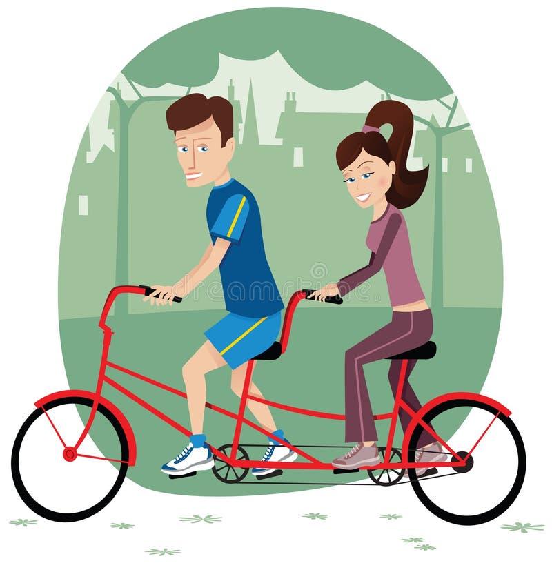 Ζεύγος που οδηγά το διαδοχικό ποδήλατο απεικόνιση αποθεμάτων
