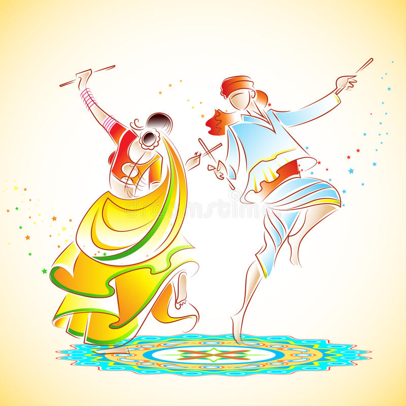 Ζεύγος που παίζει Dandiya ελεύθερη απεικόνιση δικαιώματος