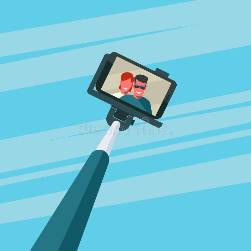 Ζεύγος που παίρνει selfie διανυσματική απεικόνιση