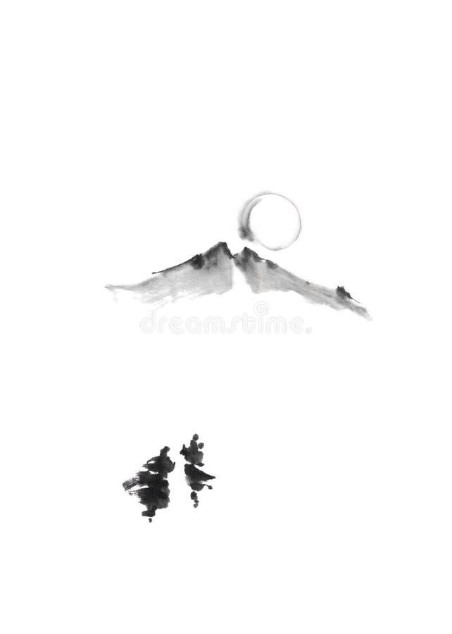 Ζεύγος που περπατά βουνών στην ιαπωνική ζωγραφική μελανιού sumi-ε ύφους αρχική στοκ εικόνα
