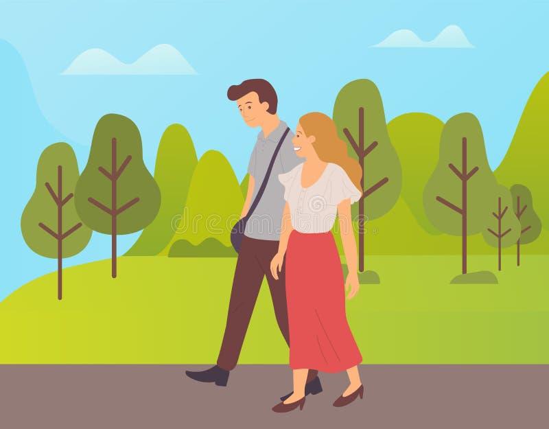 Ζεύγος που περπατά μαζί τους χαρακτήρες κινουμένων σχεδίων στο πάρκο ελεύθερη απεικόνιση δικαιώματος