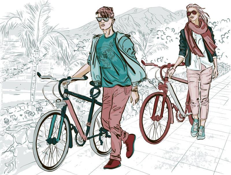 Ζεύγος που περπατά στο ανάχωμα με τα ποδήλατα ελεύθερη απεικόνιση δικαιώματος