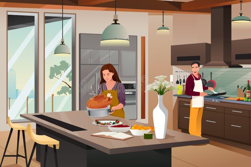 Ζεύγος που προετοιμάζεται για το γεύμα ημέρας των ευχαριστιών στην κουζίνα ελεύθερη απεικόνιση δικαιώματος
