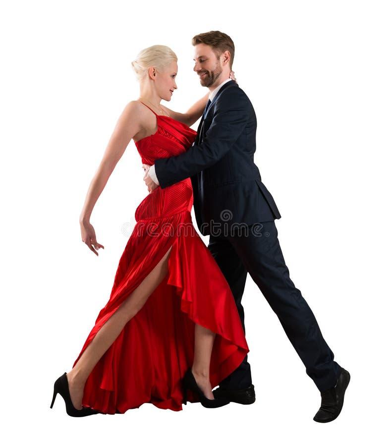 Ζεύγος που χορεύει στο άσπρο υπόβαθρο στοκ φωτογραφίες