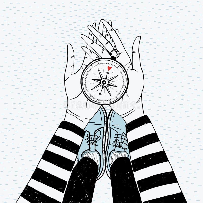 Ζεύγος που ψάχνει την έννοια Κορίτσι με την πυξίδα αγάπης Χαριτωμένη συρμένη χέρι απεικόνιση διανυσματική απεικόνιση