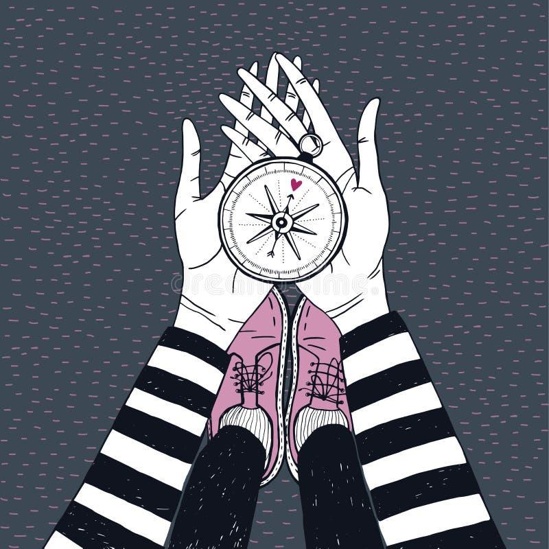 Ζεύγος που ψάχνει την έννοια Κορίτσι με την πυξίδα αγάπης Χαριτωμένη συρμένη χέρι απεικόνιση απεικόνιση αποθεμάτων