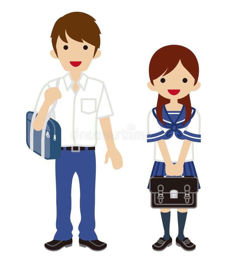 Ζεύγος σπουδαστών θερινής μόδας - ιαπωνική σχολική στολή απεικόνιση αποθεμάτων
