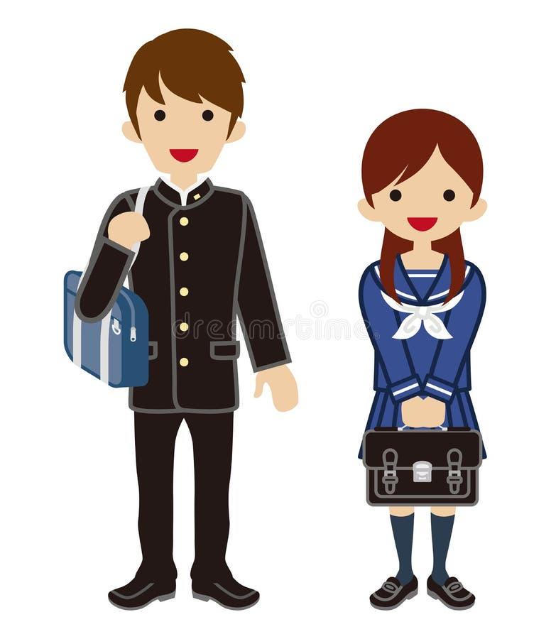 Ζεύγος σπουδαστών μόδας άνοιξη - ιαπωνική σχολική στολή διανυσματική απεικόνιση