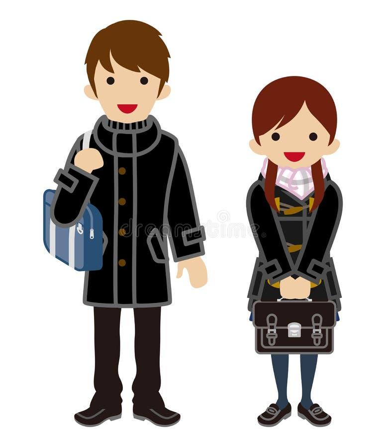 Ζεύγος σπουδαστών χειμερινής μόδας - ιαπωνική σχολική στολή ελεύθερη απεικόνιση δικαιώματος