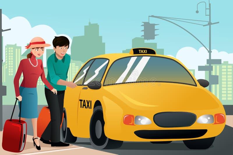 Ζεύγος στις διακοπές που καλούν ένα ταξί διανυσματική απεικόνιση