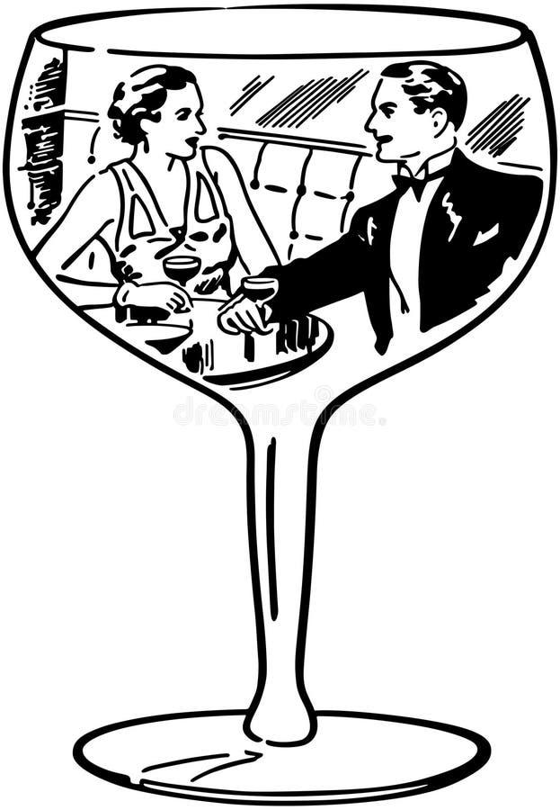 Ζεύγος στο γυαλί κρασιού διανυσματική απεικόνιση