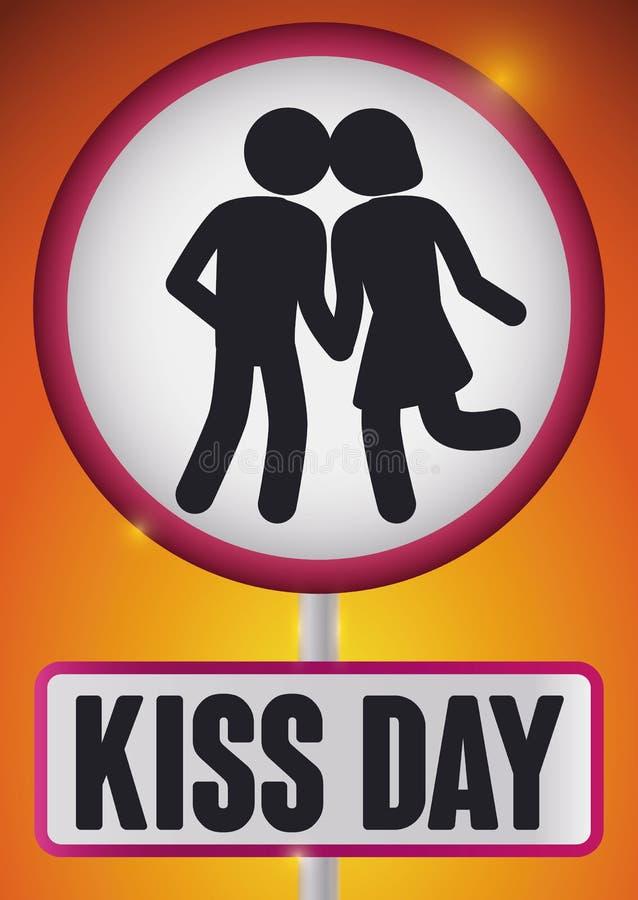 Ζεύγος στο ύφος εικονογραμμάτων στο σήμα για τον εορτασμό ημέρας φιλιών, διανυσματική απεικόνιση διανυσματική απεικόνιση