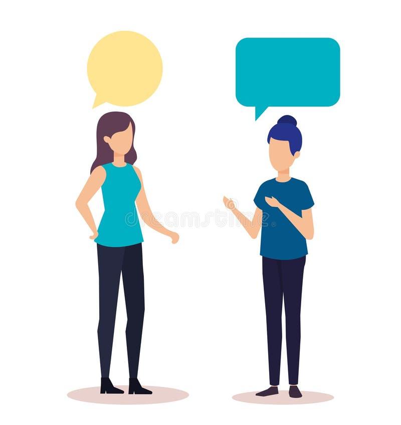 Ζεύγος της ομιλίας κοριτσιών απεικόνιση αποθεμάτων
