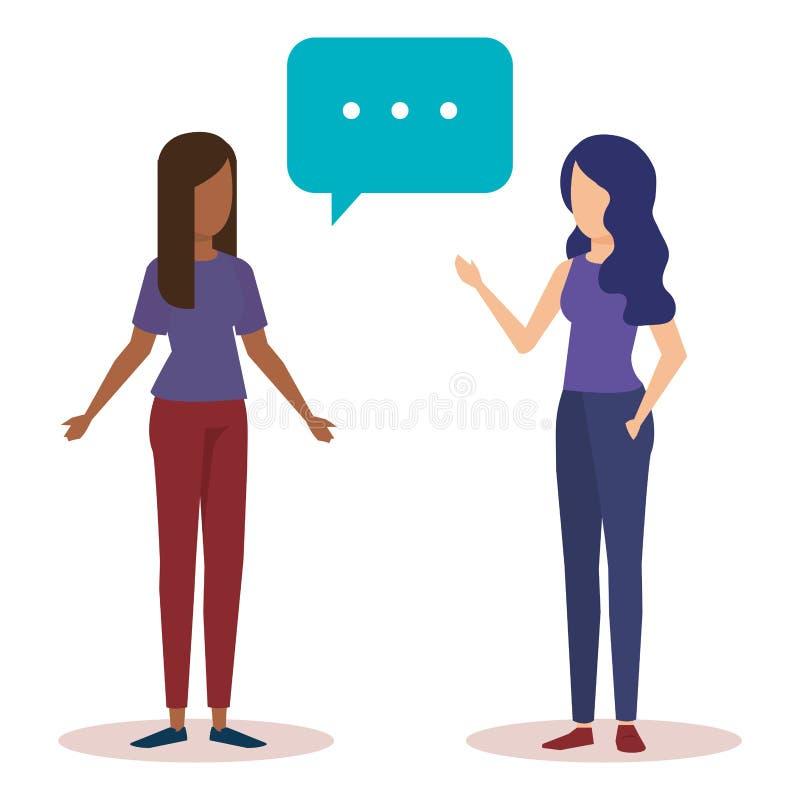 Ζεύγος της ομιλίας κοριτσιών ελεύθερη απεικόνιση δικαιώματος