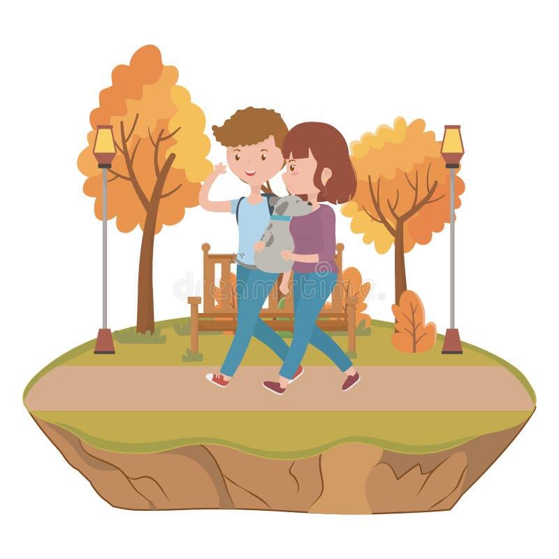 Ζεύγος του αγοριού και του κοριτσιού με το σχέδιο σκυλιών ελεύθερη απεικόνιση δικαιώματος