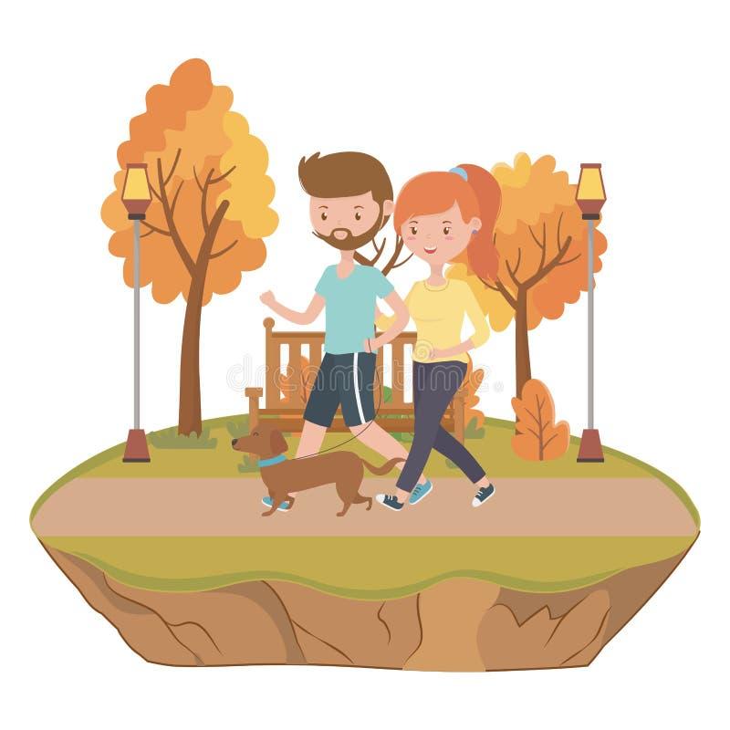 Ζεύγος του αγοριού και του κοριτσιού με το σχέδιο σκυλιών διανυσματική απεικόνιση