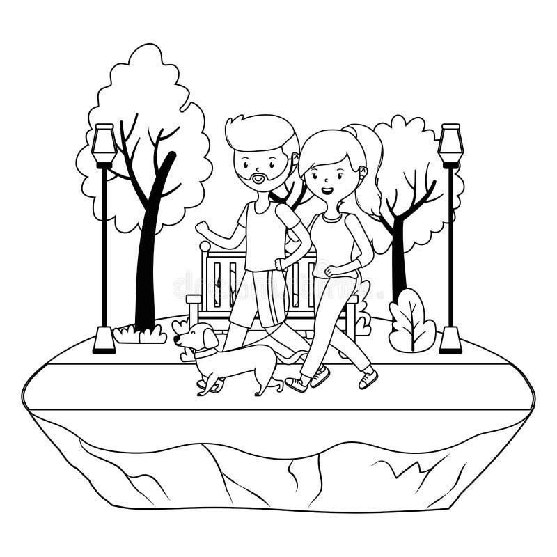 Ζεύγος του αγοριού και του κοριτσιού με το σχέδιο σκυλιών απεικόνιση αποθεμάτων