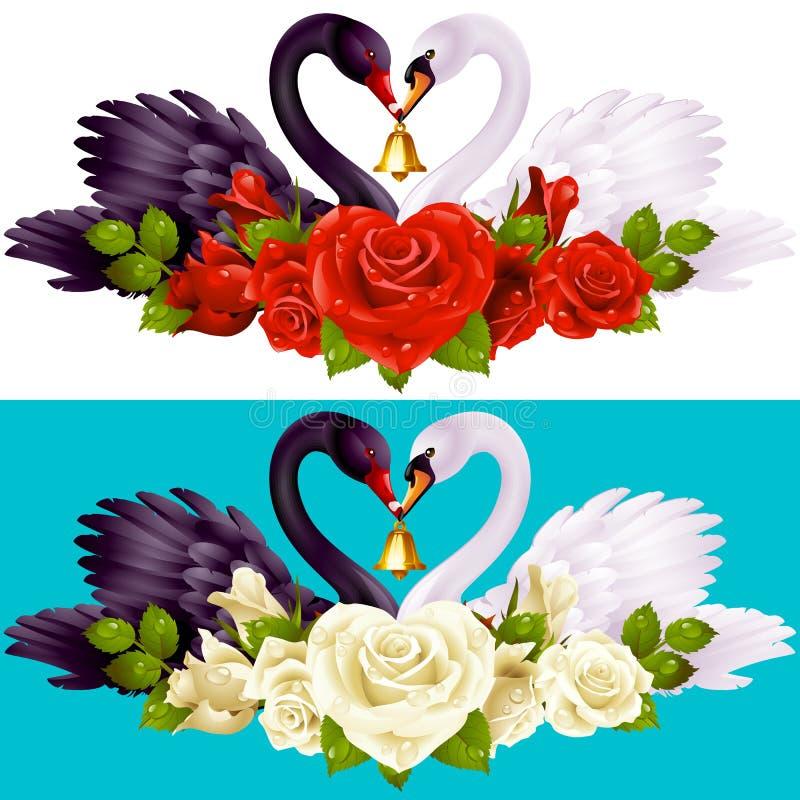 Ζεύγος, τριαντάφυλλα και καρδιές του Κύκνου διανυσματική απεικόνιση