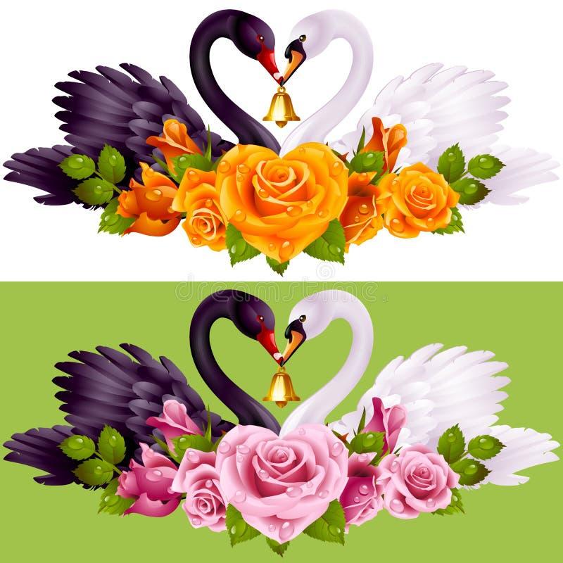 Ζεύγος, τριαντάφυλλα και καρδιές του Κύκνου απεικόνιση αποθεμάτων