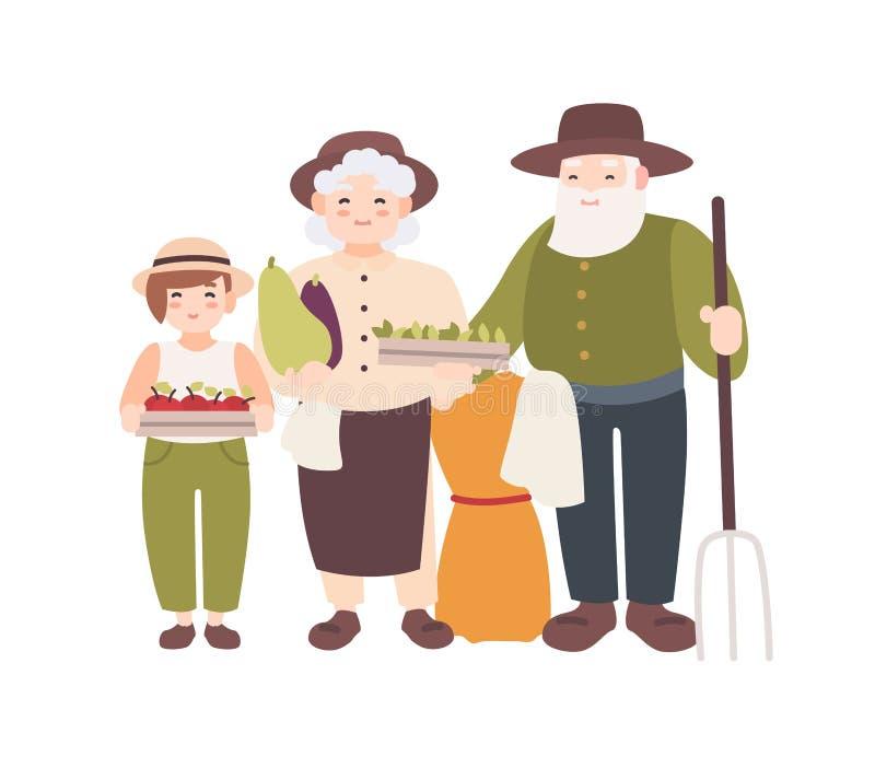 Ζεύγος των ηλικιωμένων αγροτών και του εγγονιού τους που κρατούν τα ώριμα μαζευμένα λαχανικά Οι παππούδες και γιαγιάδες και ο εγγ απεικόνιση αποθεμάτων
