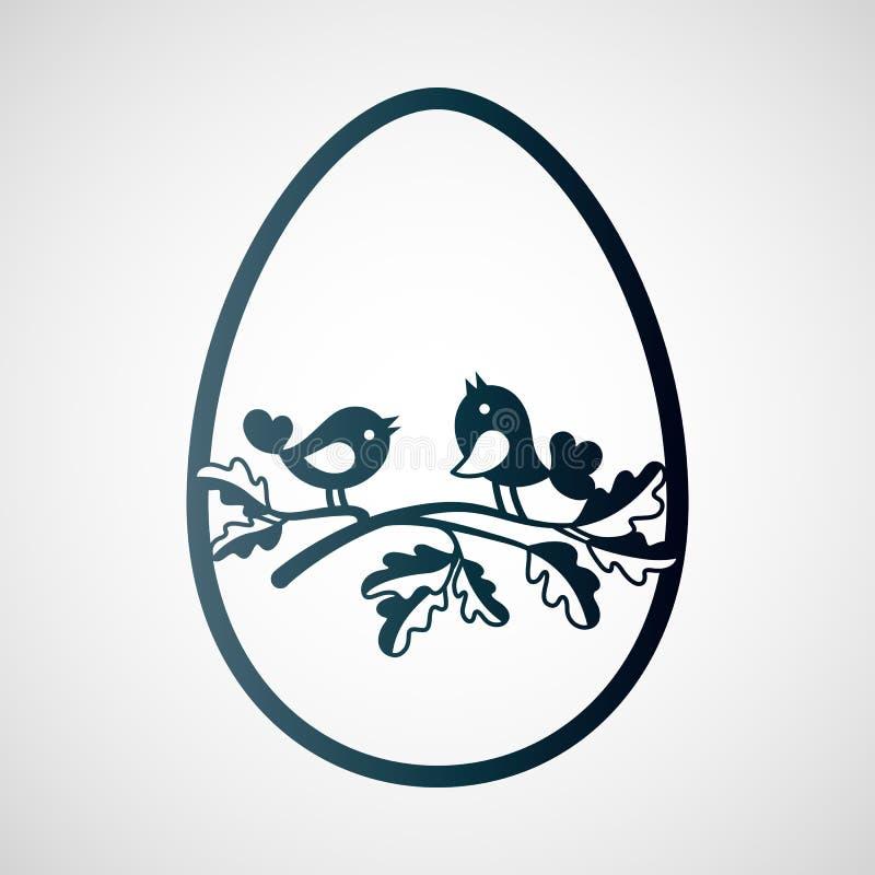 Ζεύγος των μικρών πουλιών στον κλάδο της βαλανιδιάς μέσα σε ένα αυγό Πάσχας ελεύθερη απεικόνιση δικαιώματος