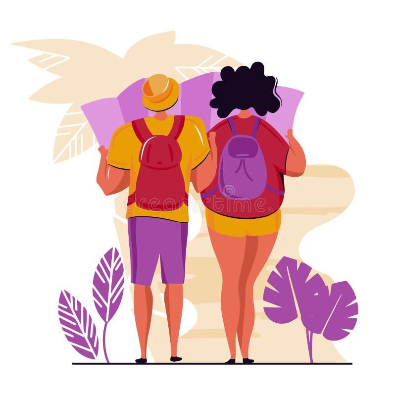 Ζεύγος των νέων, του άνδρα και της γυναίκας με τα σακίδια πλάτης στο ταξίδι Διανυσματικοί επίπεδοι χαρακτήρες κινουμένων σχεδίων  διανυσματική απεικόνιση